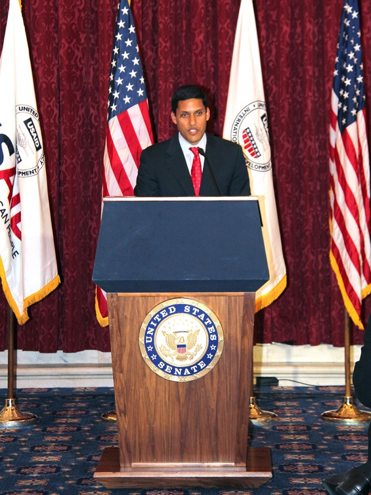 USAID Administrator Rajiv Shah introduces the Water and Development Strategy on May 21, 2013.
