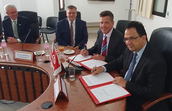 The Minister of Development, Investment and International Cooperation, Mr. Zied Ladhari, presided over the DOAG signing ceremony, and was accompanied by Middle East Bureau Assistant Administrator Mike Harvey, the U.S. Ambassador to Tunisia, Donald Blome, and the USAID/Tunisia Principal Officer, Peter Riley in Tunisia, August 28, 2019.