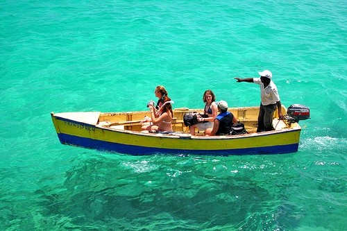Tourists visiting a marine protected area in the Dominican Republic.