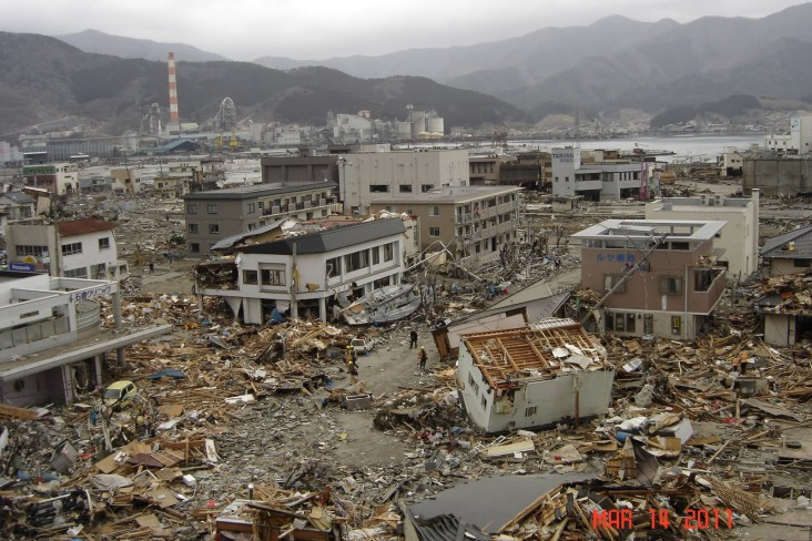 The magnitude-9.0 earthquake and tsunami in Japan on March 11, 2011.