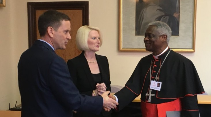 USAID Administrator Mark Green meets with Cardinal Peter K. Turkson of the Dicastery for Promoting Integral Human Development and Callista Gingrich,  U.S. Ambassador to the Holy See.