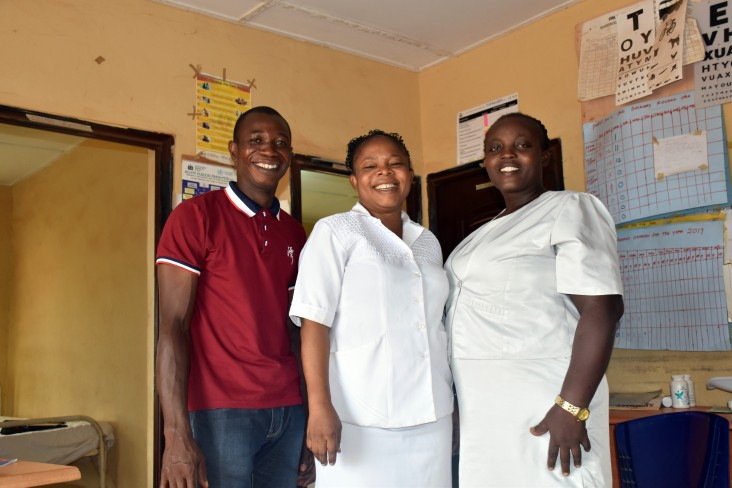 Adeniyi Adesoji Thomas, ward development committee chair; Titilayo Aremu, PHC Alekuwodo's officer-in-charge; and Christianah Okunola, PHC Alekuwodo's deputy officer-in-charge worked together with other community leaders to restore power to their community's primary health care center and improve the care it provides.