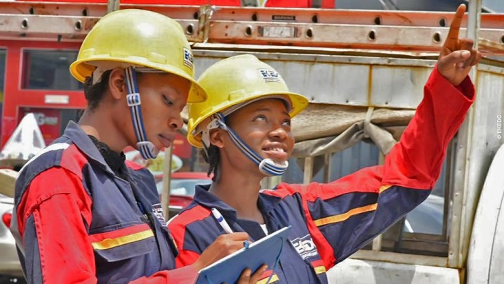 Blessing Oyeniyi and Adeyemi Opeyemi, the first female line workers at Eko Electricity Distribution Company (EKEDC) in Nigeria.