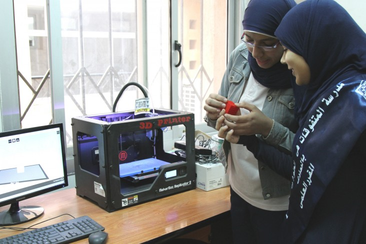 Two students design new technology with 3D printers at the Maadi STEM School for Girls