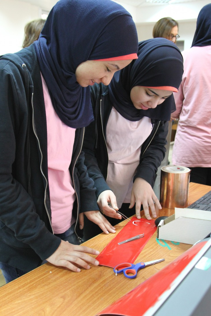Students innovate in the Maadi STEM School for Girls' fabrication laboratory.