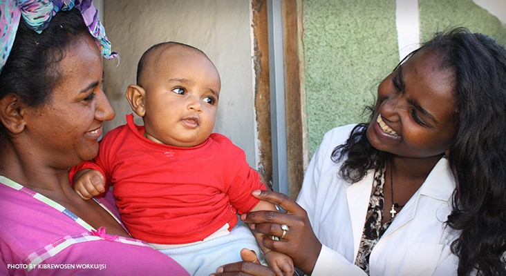 Image of Ethiopia urban health worker checking on mother and baby