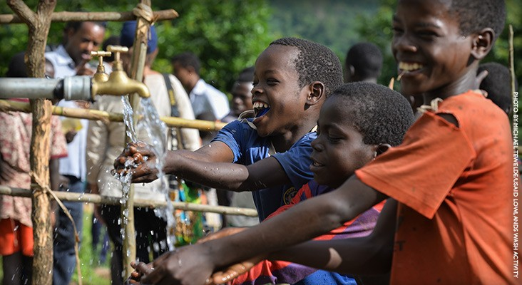 Image of Ethiopian boys drinking clean water