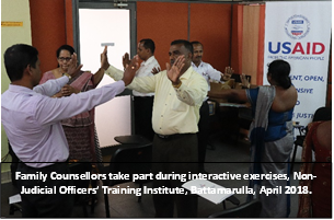 Family counselors taking part during interactive exercises in Sri Lanka