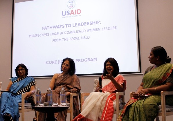 Female Lawyers address the audience during the panel discussion