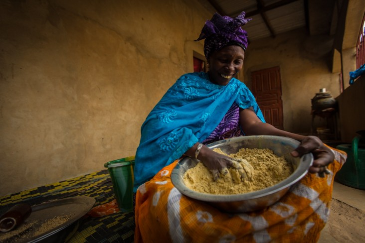 Hapstau Ka uses fortified flour for her Senagalese dishes and trains other mothers about a broad range of products that are needed to enhance the health of her community.