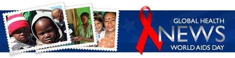 HIV/AIDS banner with photos of children and women