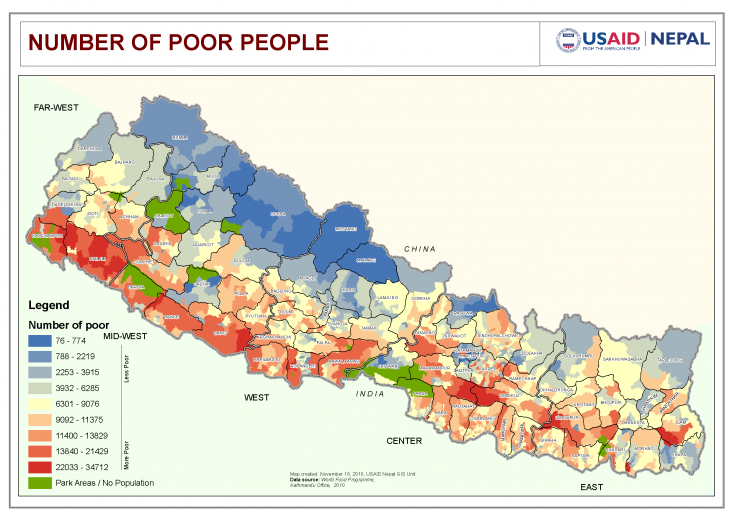 Map: Number of Poor People - Nepal