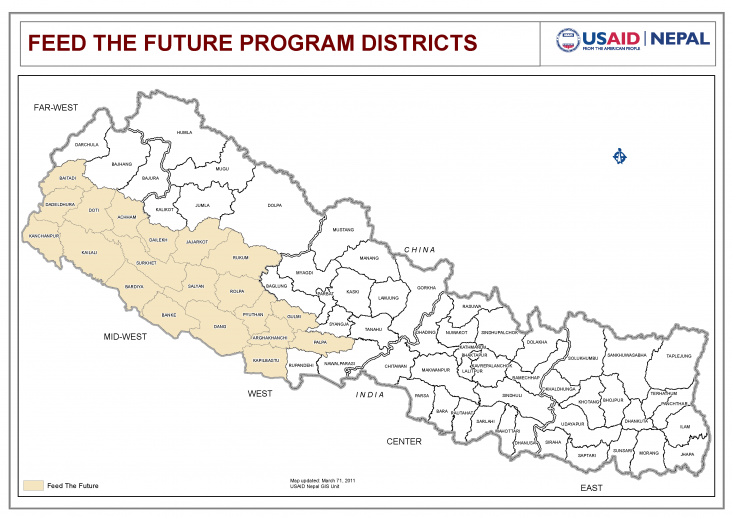 Map: Feed The Future Program Districts in Nepal