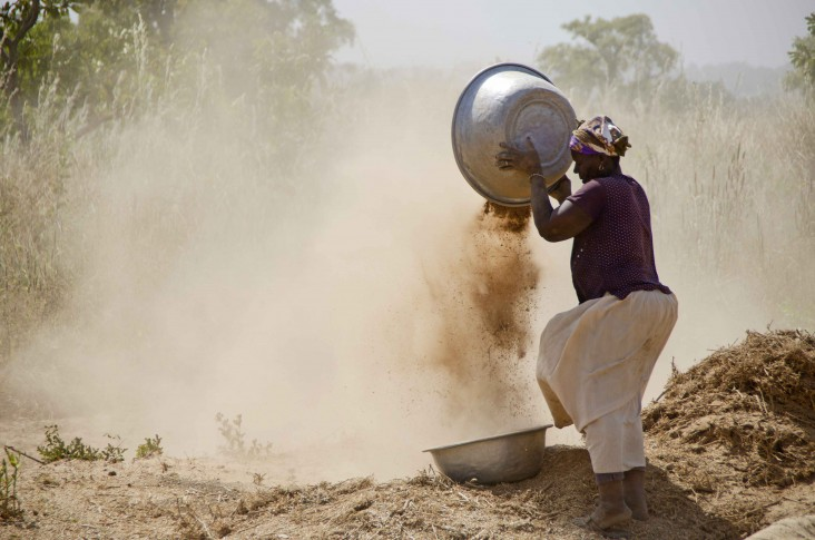 A woman cleans soya in Bincheratanga, Northern Region.