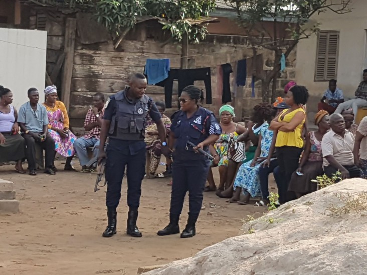Security officials were present at each polling station in Ghana to ensure a peaceful and orderly voting process last December.