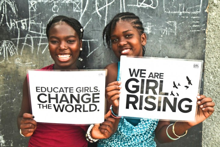 Girls attend a screening celebration for International Day of the Girl, 2013.