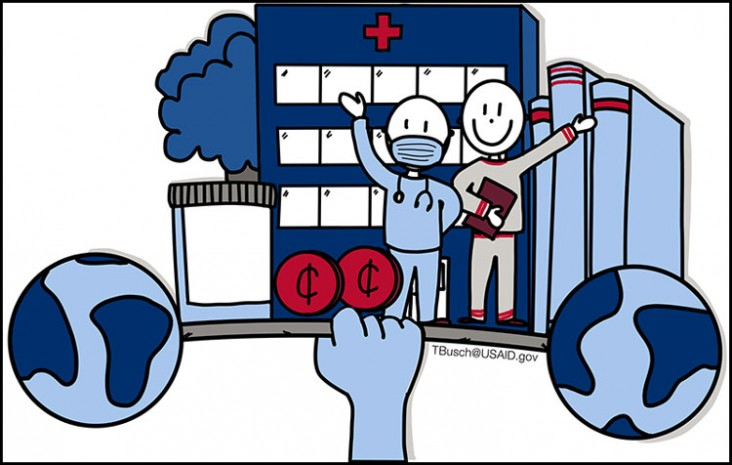 Graphic showing a hand holding a barbell with people, books and buildings on it.