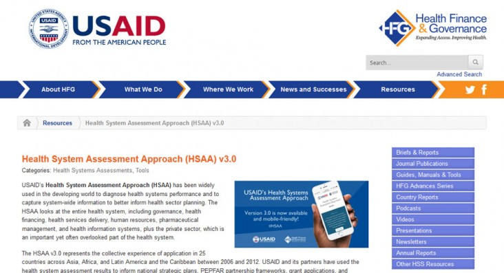 Screenshot of the Health Systems Assessment Approach website.