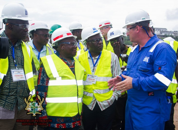 The Honorable Benjamin Dagadu (second from left), Ghana's Deputy Minister of Petroleum, visits a fabrication site in the western
