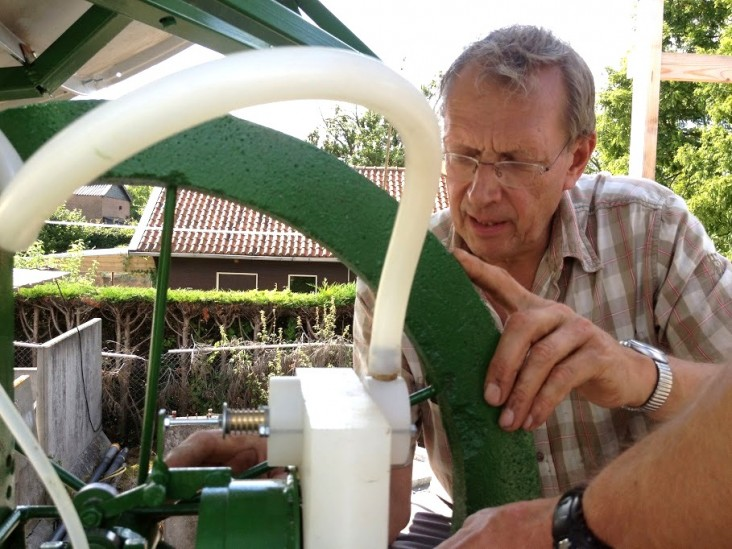 Gert Jan Bom of the PRACTICA Foundation works on the Clean Irrigation System.