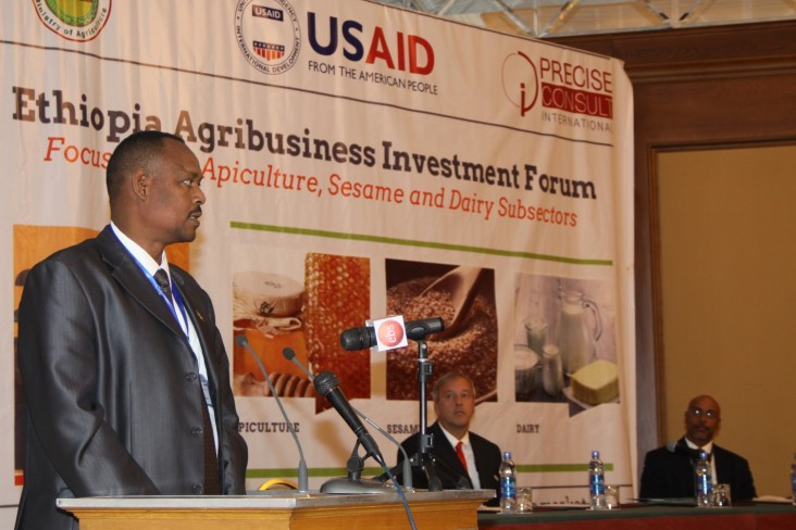State Minister of Agriculture Mitiku Kassa opens Ethiopia's first Agribusiness Investment Forum.
