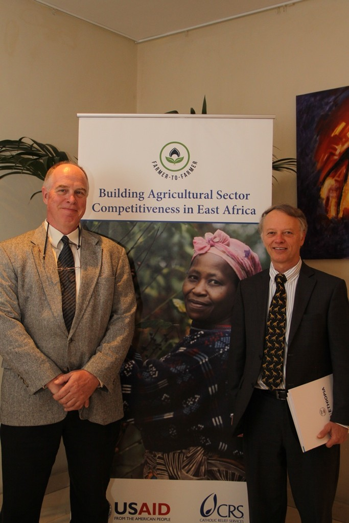 Dr. James V. Worstell (left) and USAID Ethiopia Mission Director Dennis Weller at the launch of USAID's Farmer-to-Farmer program