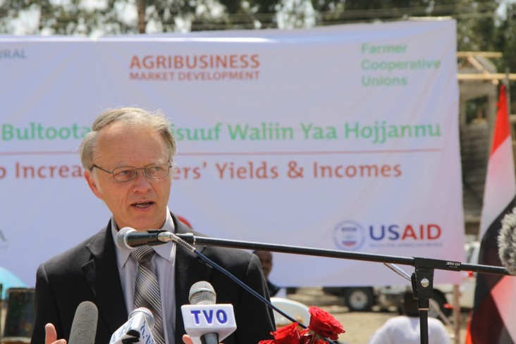 USAID Ethiopia Mission Director Dennis Weller gives remarks at a ceremony to inaugurate the fertilizer blending facility.
