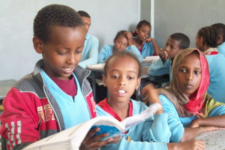 A grade 3 student reading a paragraph from his textbook at the Andode Primary School in Addis Ababa.