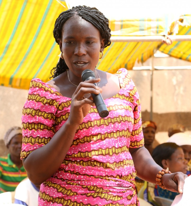 Victoria Asaaro speaks at the 2015 International Women's Day event in her village of Binaba, Ghana.