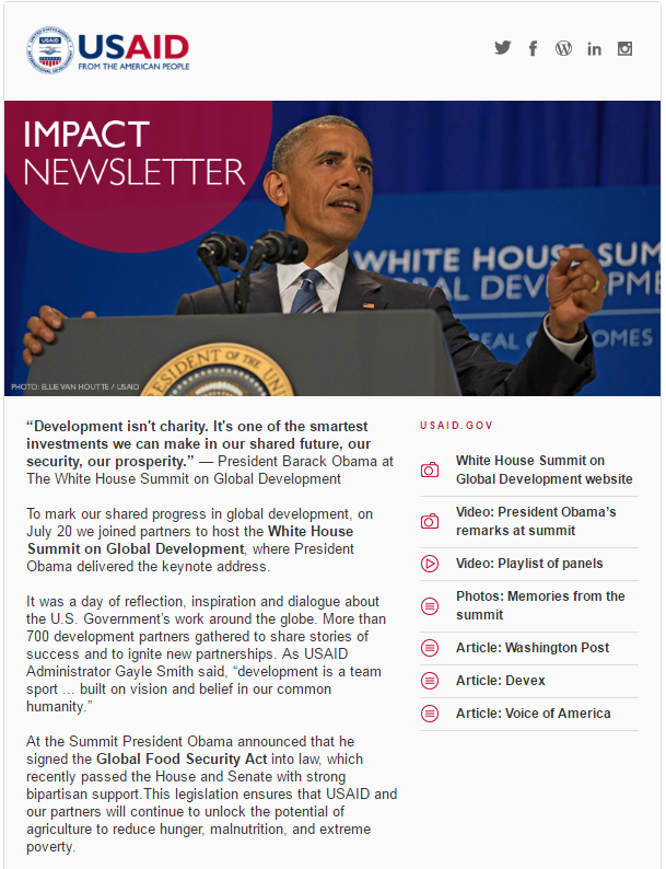 Click to read the August 2, 2016 Impact Newsletter: White House Summit on Global Development