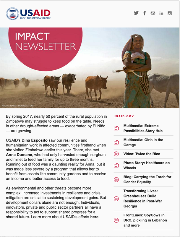 Click to read the September 13, 2016 Impact Newsletter: Building Resilience in Response to Crises