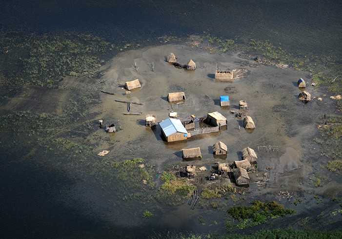 One of hundreds of villages flooded during the Zambezi River's 2009 flood.
