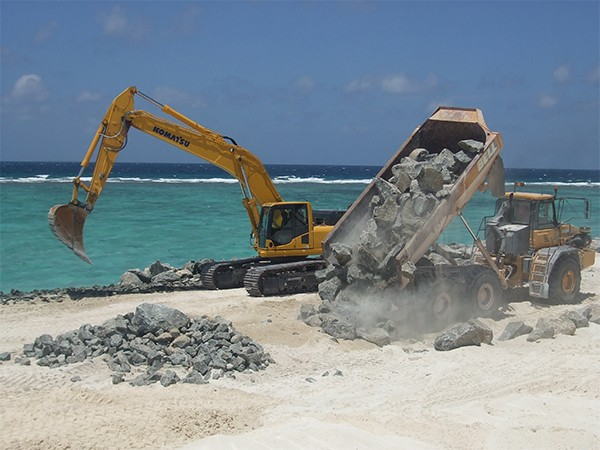 Coastal reclamation near the sea outfall on Dhidhdhoo Island.