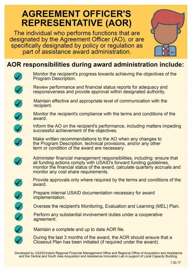 Infographic: The role of the AO vs AOR in assistance award administration. Page 2