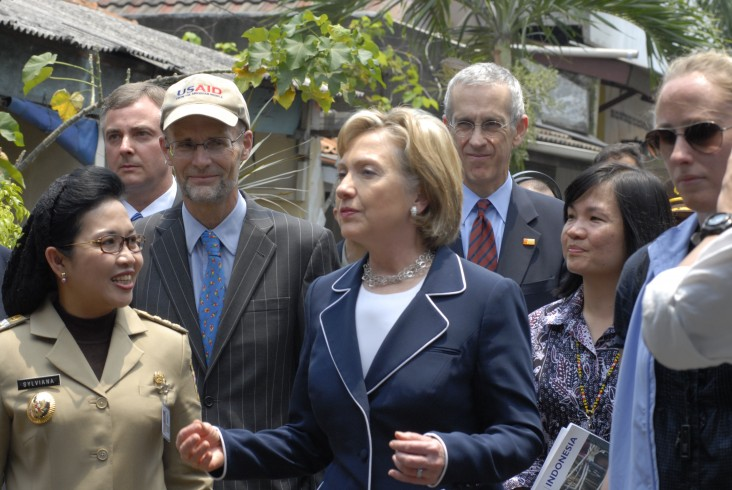 Image of Secretary of State Clinton speaking to an audience in Indonesia during an official visit.