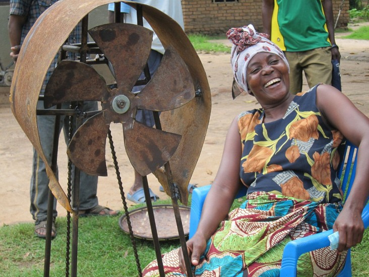 Stella Malangu smiles after using the prototype she helped design and build.