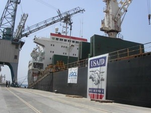 USAID-branded ship at dock