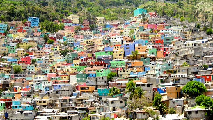 Informal housing spreads across the hillsides in Jalousie, Haiti.