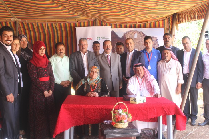 Members of the Um Al Jamal Community Engagement Project team