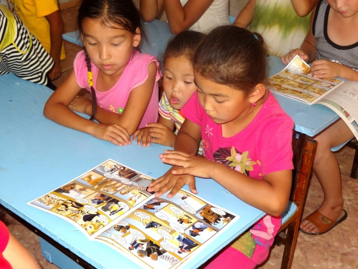 Saiga comic book distribution at schools