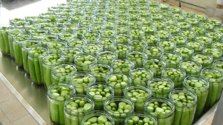 A batch of local pickles is bottled at a food processor outside of Beirut.