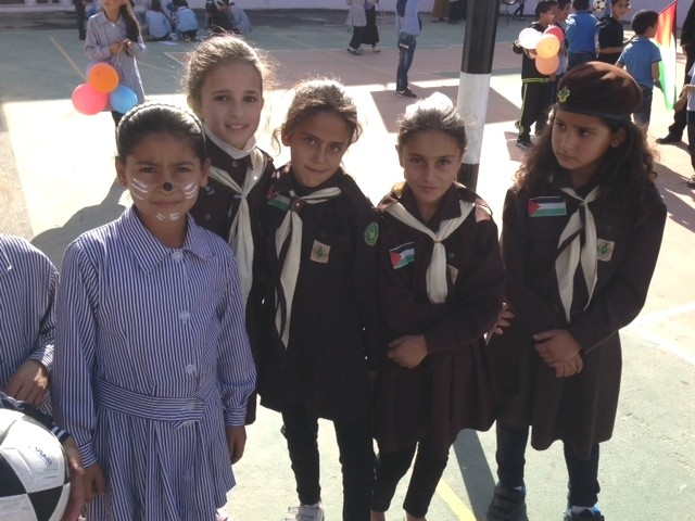 Young girls who are students at the USAID-supported Harmala school in the Bethlehem governorate