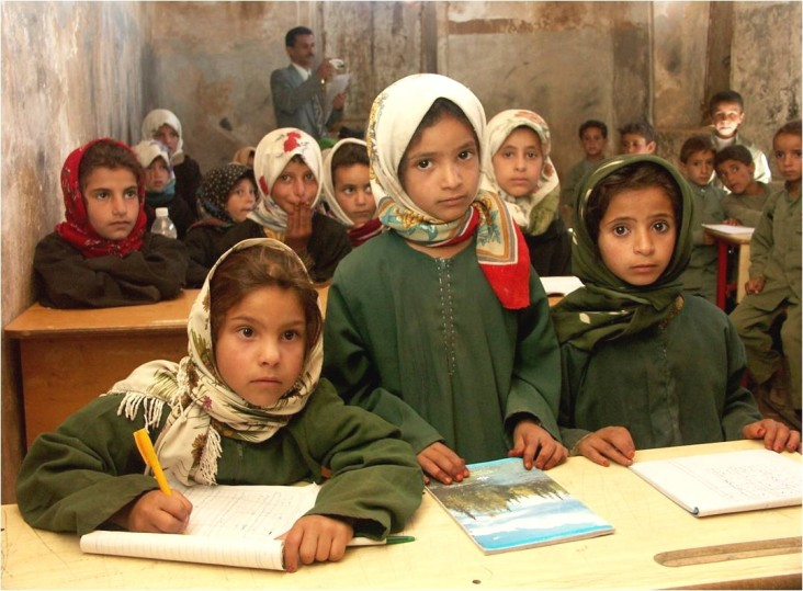 School girls in Sana'a, Yemen, gather for their lesson.
