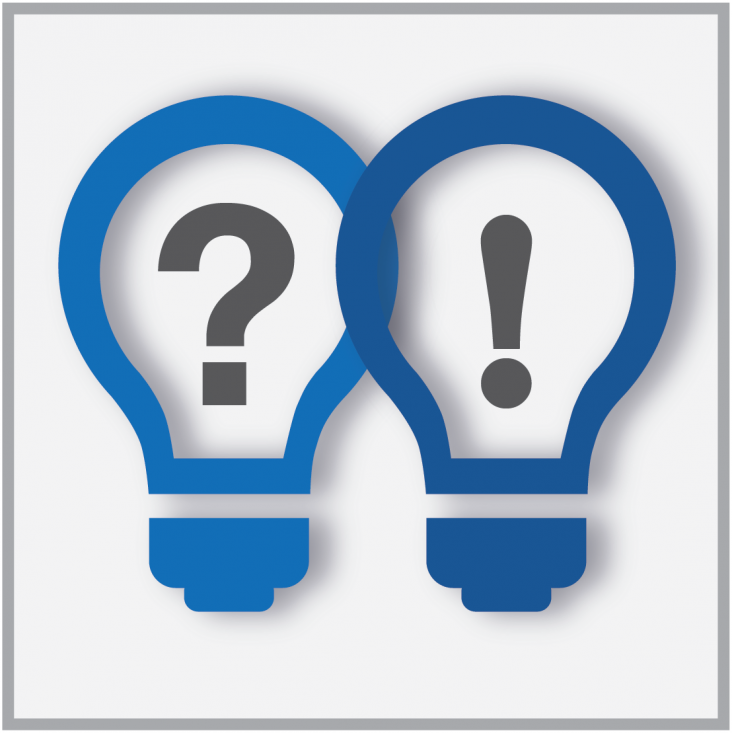 Graphic showing two light bulbs with a question mark and exclamation point