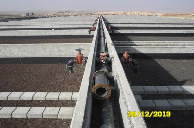 Drying beds – header pipe and distributing valves