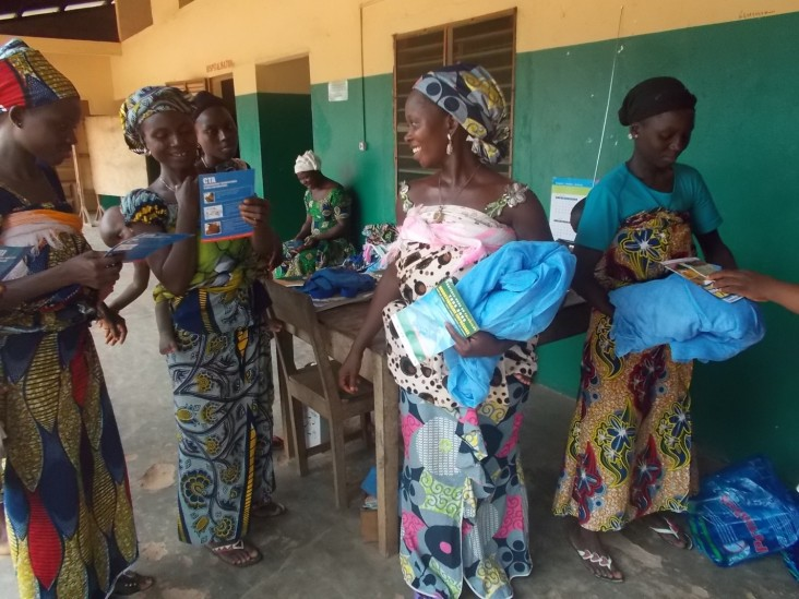 Expectant mothers receive long lasting insectide nets at public health clinic in Benin. Since 2007, USAID has provided over 5.8