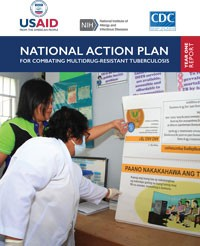 Cover of the National Action Plan for Combating Multidrug-Resistant Tuberculosis One -Year report showing two people looking at information on a wall.