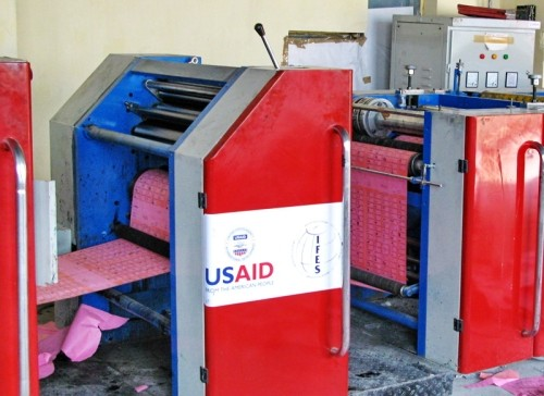 Image of USAID-funded ballot printing machines
