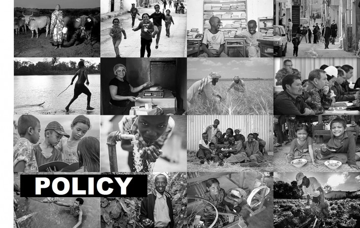 Mosaic of photos with the word Policy