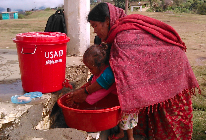 Suaahara teaches mothers about handwashing, safe disposal of feces, and other WASH-nutrition topics through lear